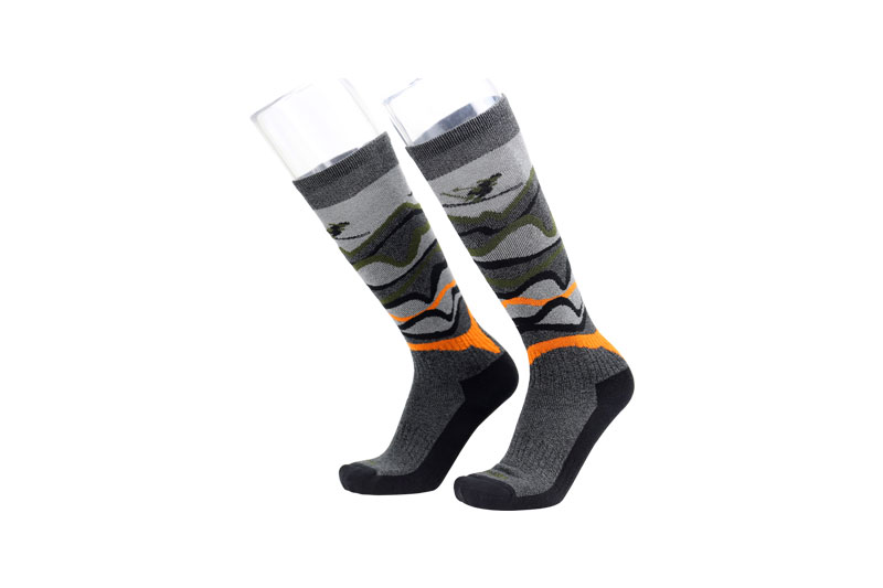 Grey orange compression ski socks