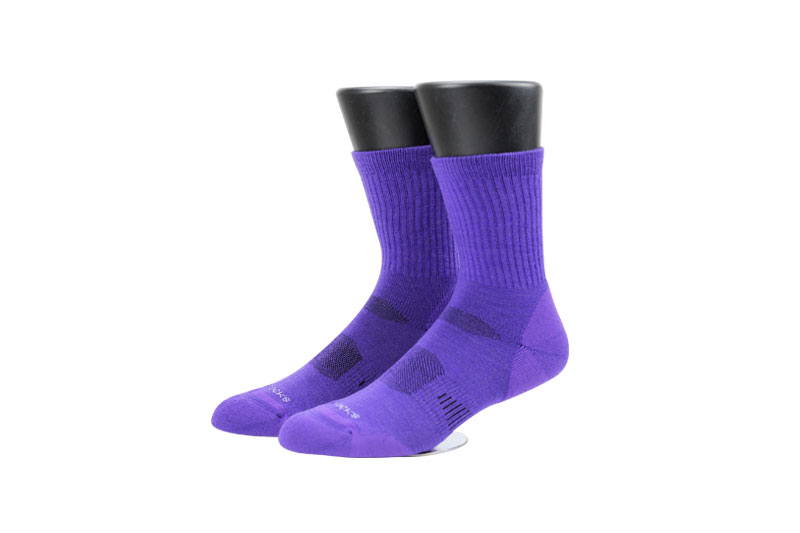 Purple spandex men's wool socks