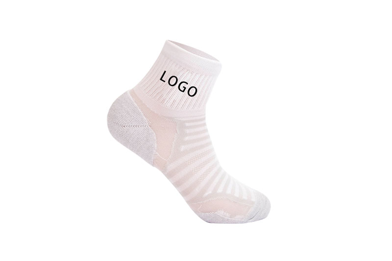 Gray pink Cotton crew athletic socks